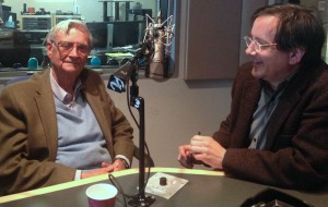 Biologist and author E.O. Wilson talks about storytelling with TRBQ host Dean Olsher. (Photo: Flora Lichtman)